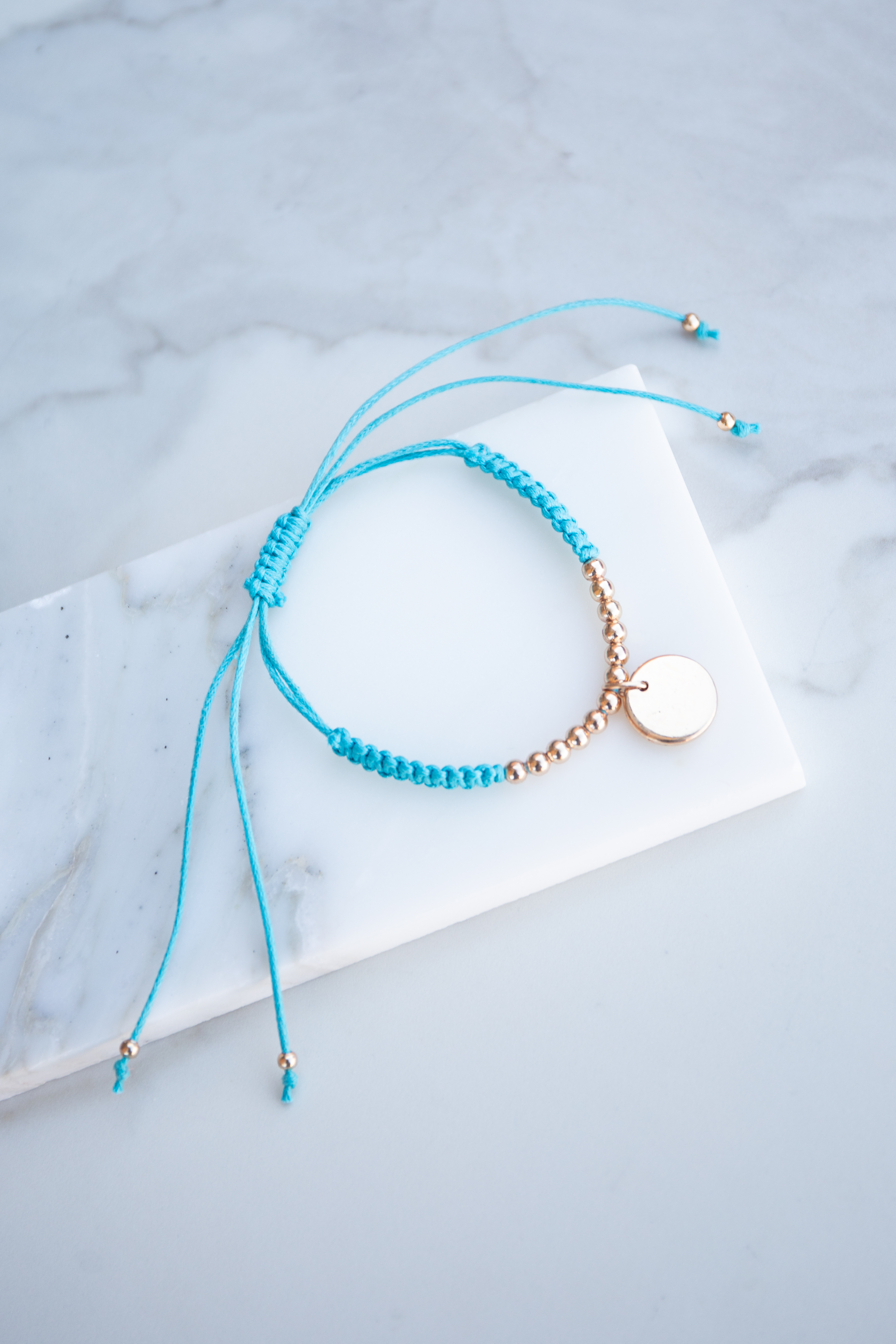 Cerulean Adjustable Bracelet with Gold Bead Details