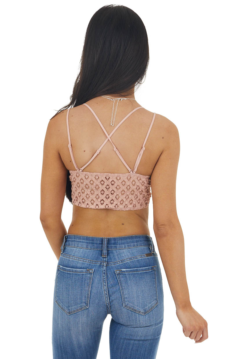 Dusty Peach Lace Bralette with Dual Criss Cross Straps