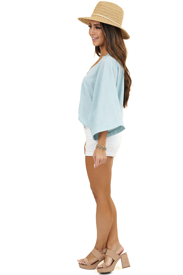 Turquoise and Gold Printed Surplice Top with Kimono Sleeves