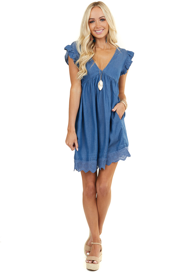 Denim Blue V Neck Dress with Ruffle Sleeves and Lace Hem