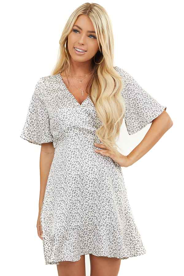 Cream and Ash Leopard Print Silky Surplice Dress