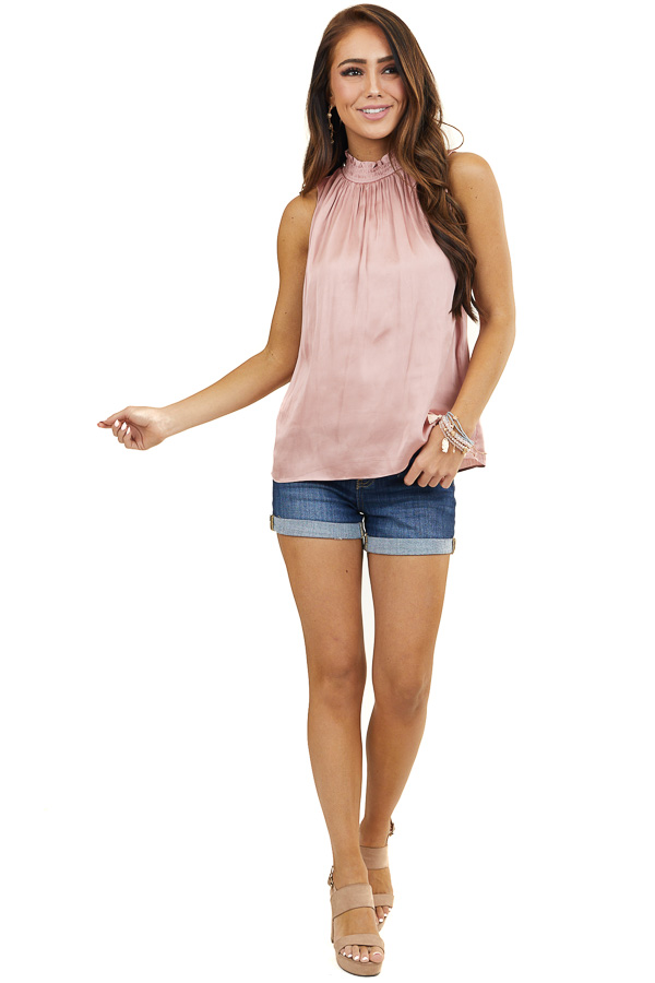 Apricot High Neck Silky Tank Top Smocked Details