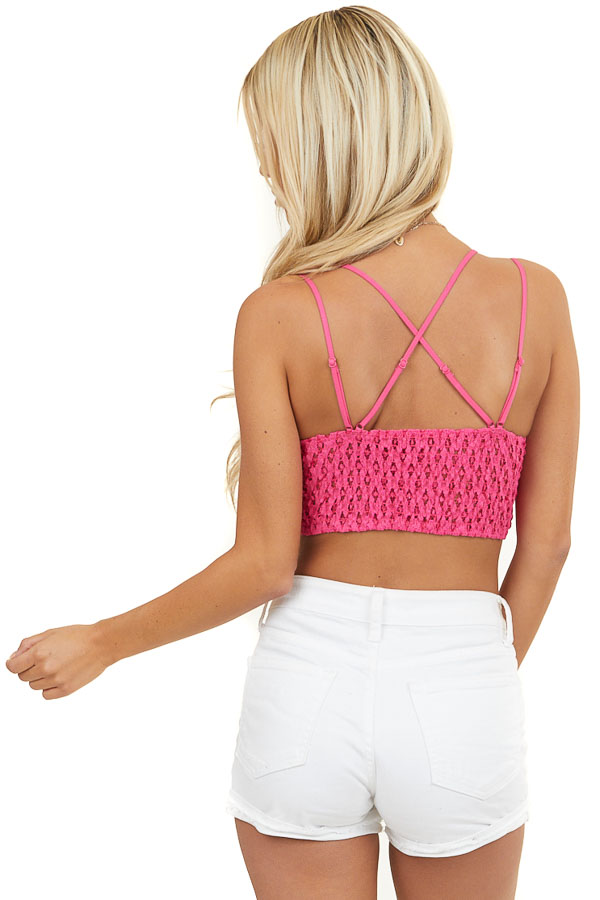 Hot Pink Lace Bralette with Dual Criss Cross Straps