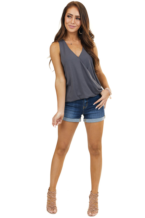 Charcoal Surplice Knit Tank Top with Front Twist Detail