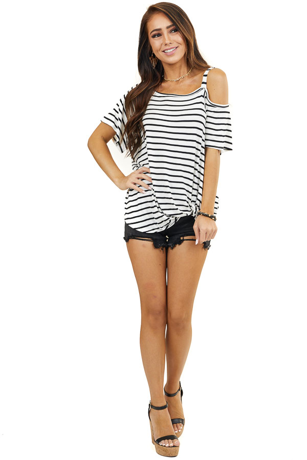 Off White Striped One Cold Shoulder Top with Front Twist