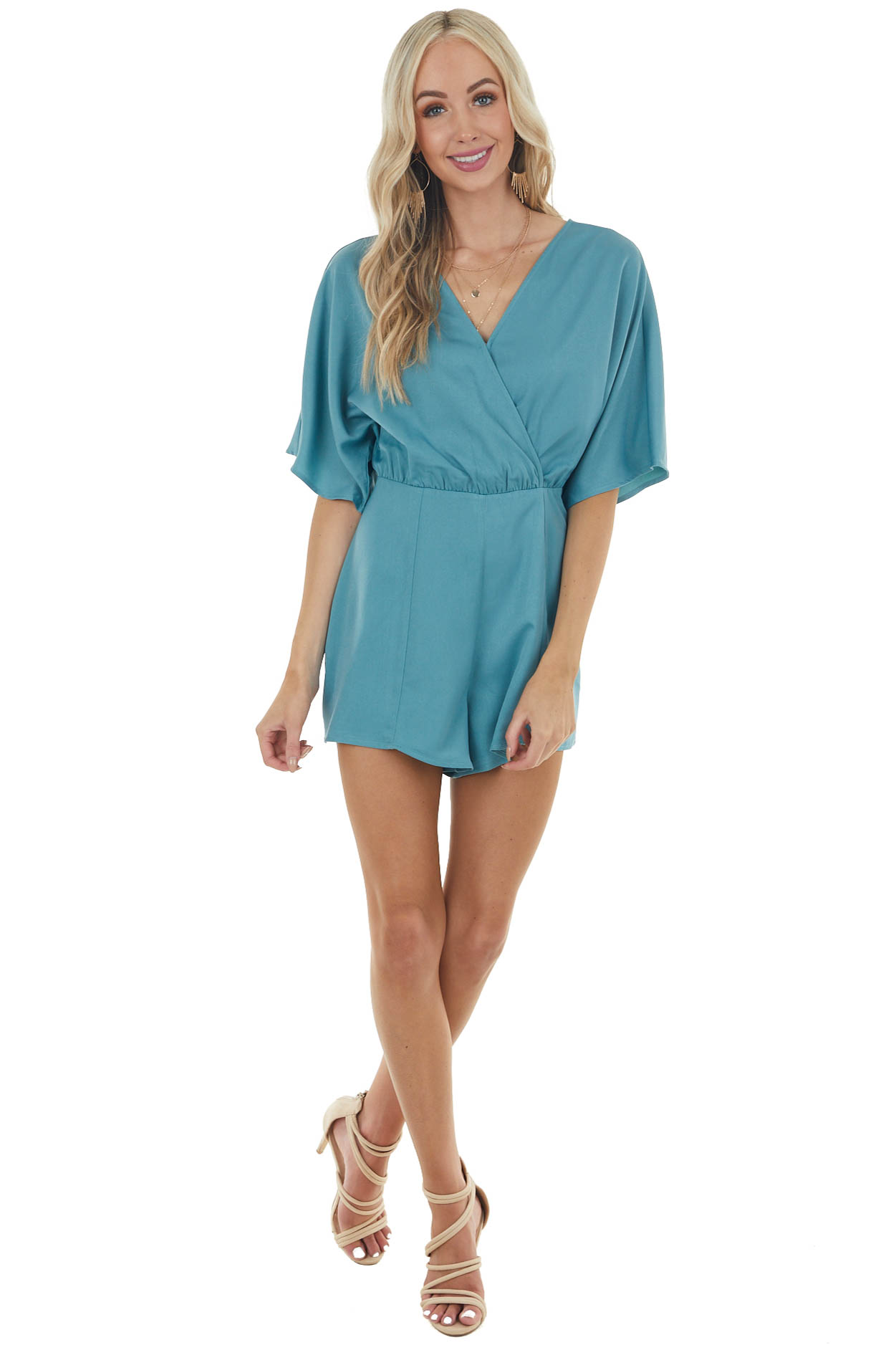 Jungle Green Short Sleeve Woven Surplice Romper