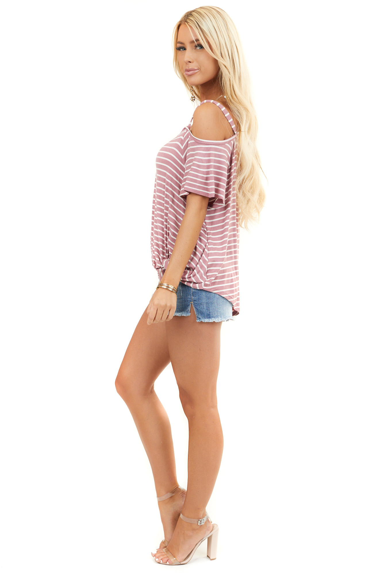 Mauve Striped One Cold Shoulder Top with Front Twist