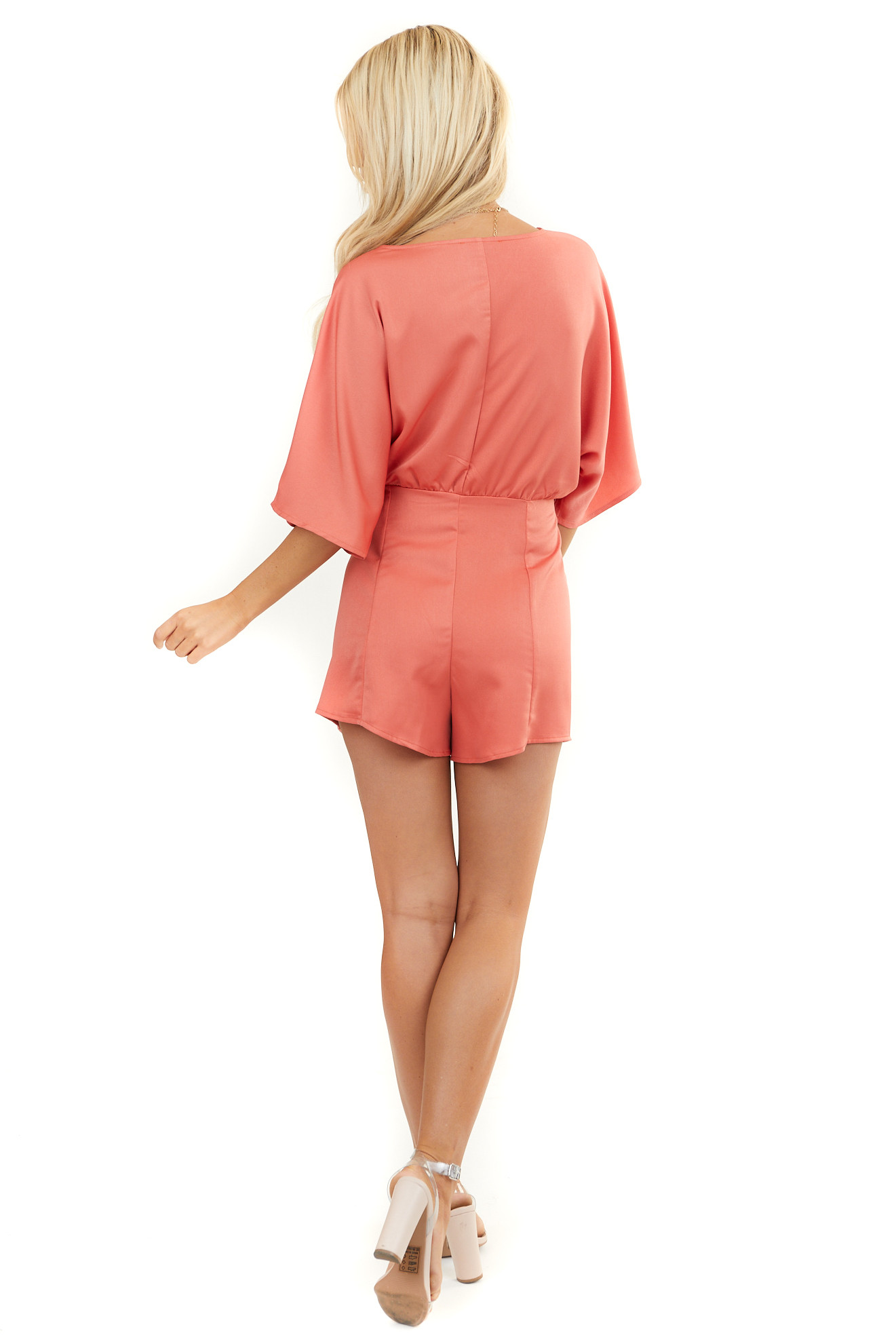 Brick Red Short Sleeve Woven Surplice Romper