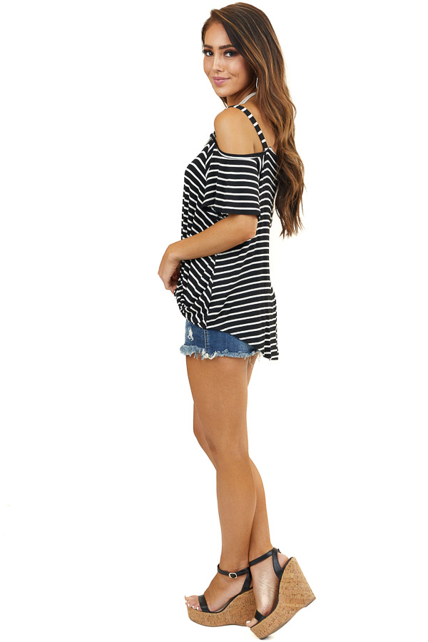 Black Striped One Cold Shoulder Top with Front Twist