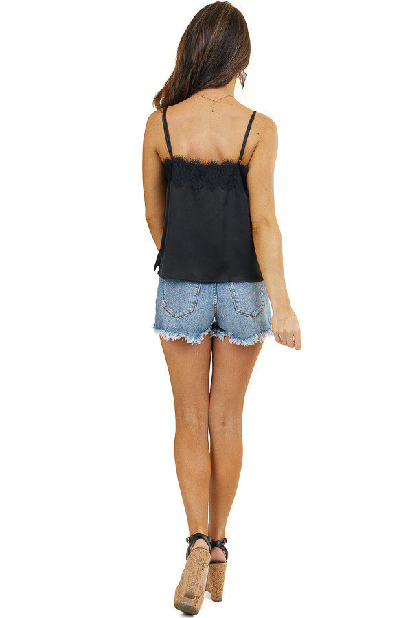 Black Silky Tank Top with Button and Lace Details