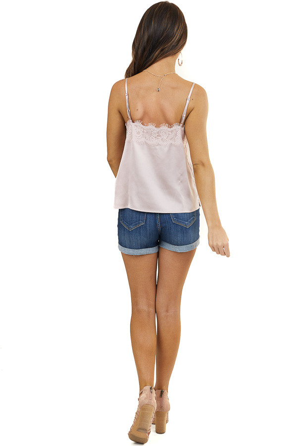 Blush Silky Tank Top with Button and Lace Details