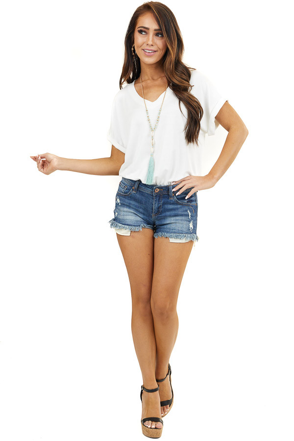 Ivory V Neck Knit Bodysuit with Cuffed Short Sleeves