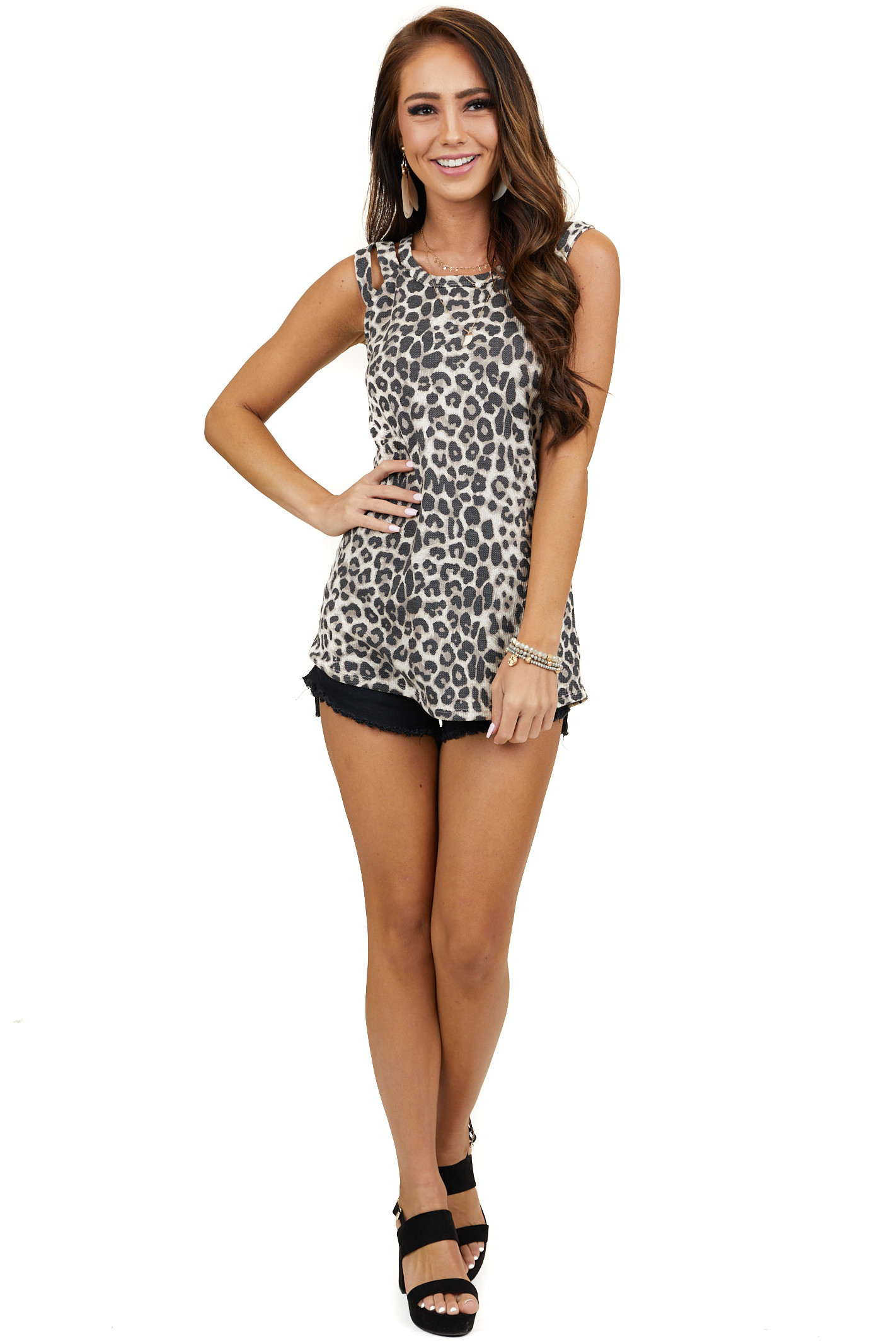 Latte Leopard Sleeveless Top with Criss Cross Strap Details