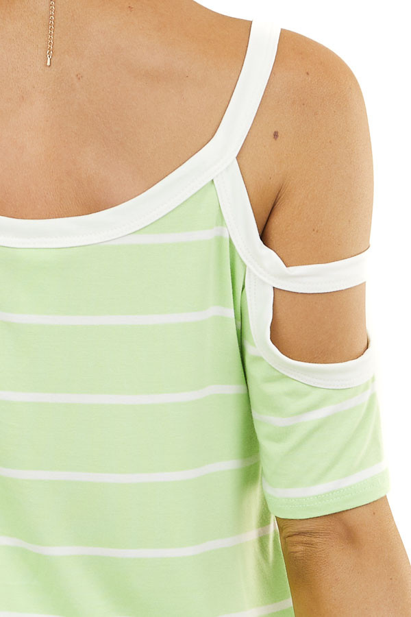 Light Lime and Ivory Striped Strappy Cold Shoulder Top