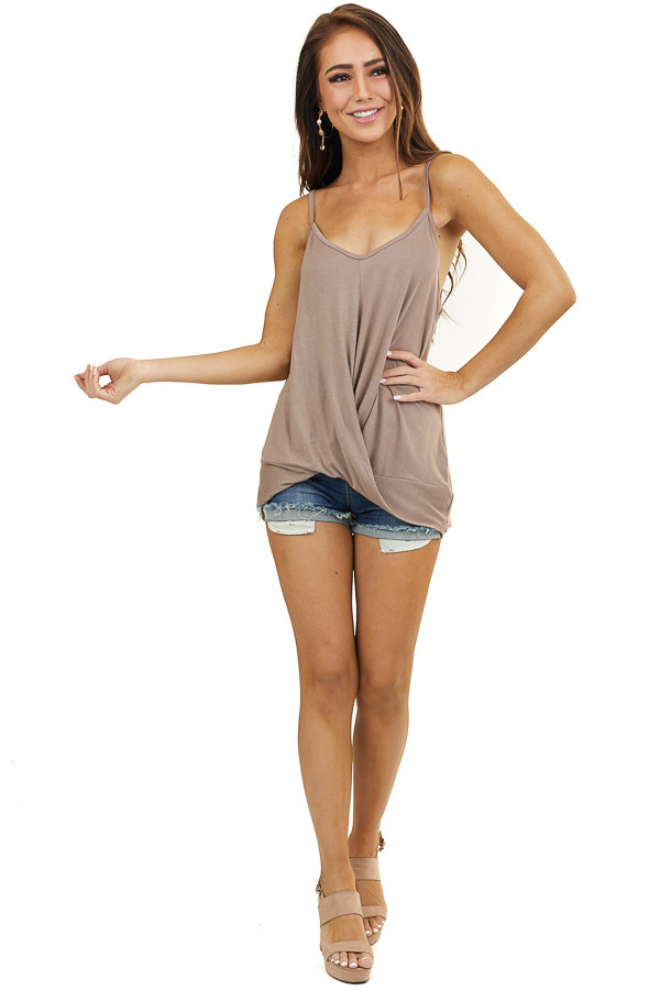 Latte Knit Tank Top with V Neck and Twisted Front Detail