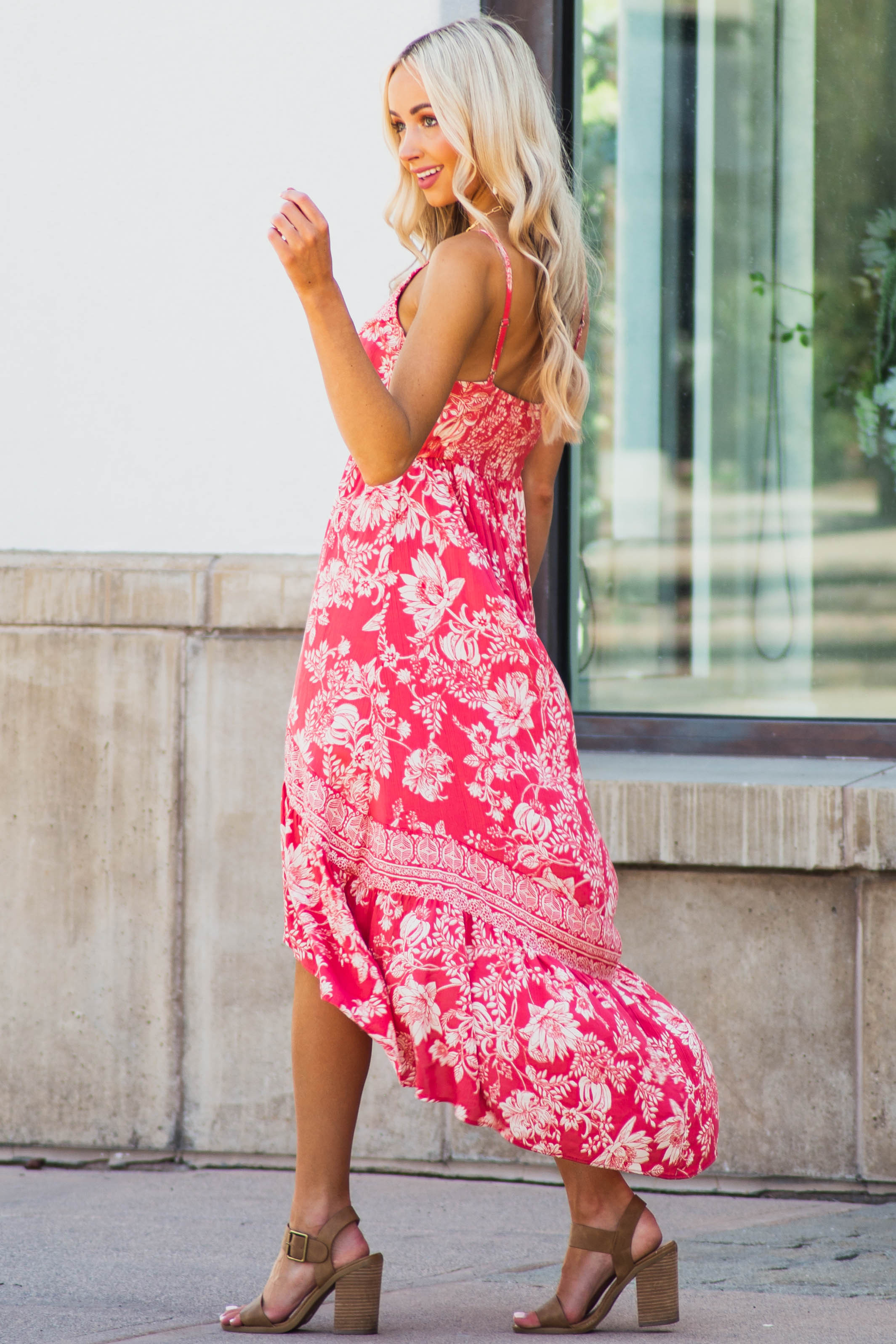 Faded Red Floral Sleeveless Dress with Ruffle High Low Hem