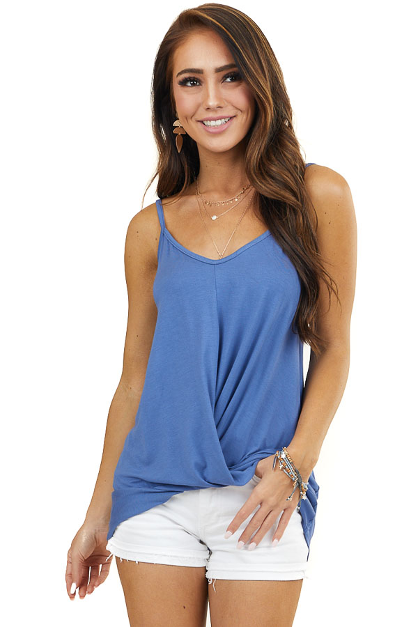 Dusty Blue Knit Tank Top with V Neck and Twist Front Detail