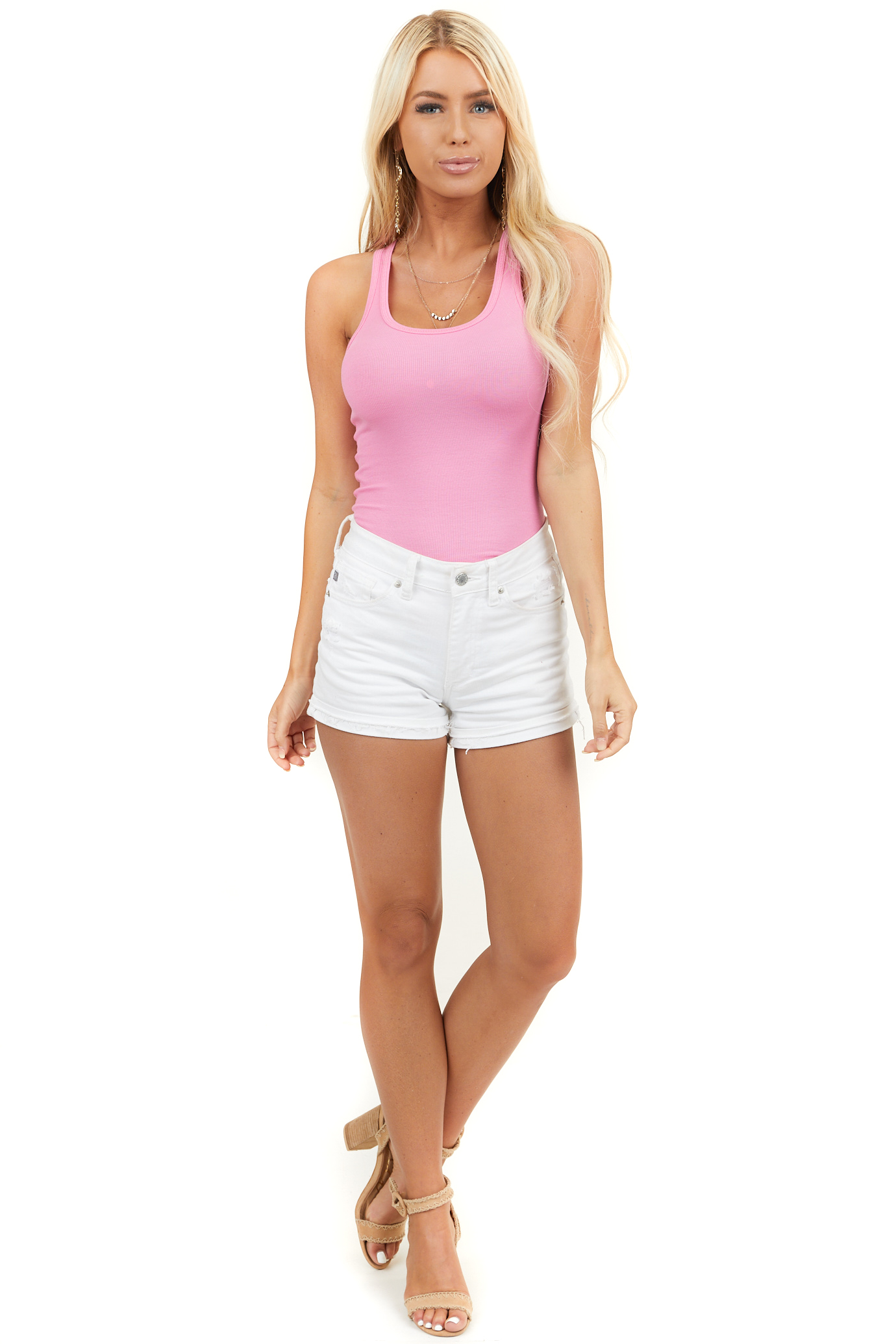 Bubblegum Pink Ribbed Knit Tank Top with Rounded Neckline
