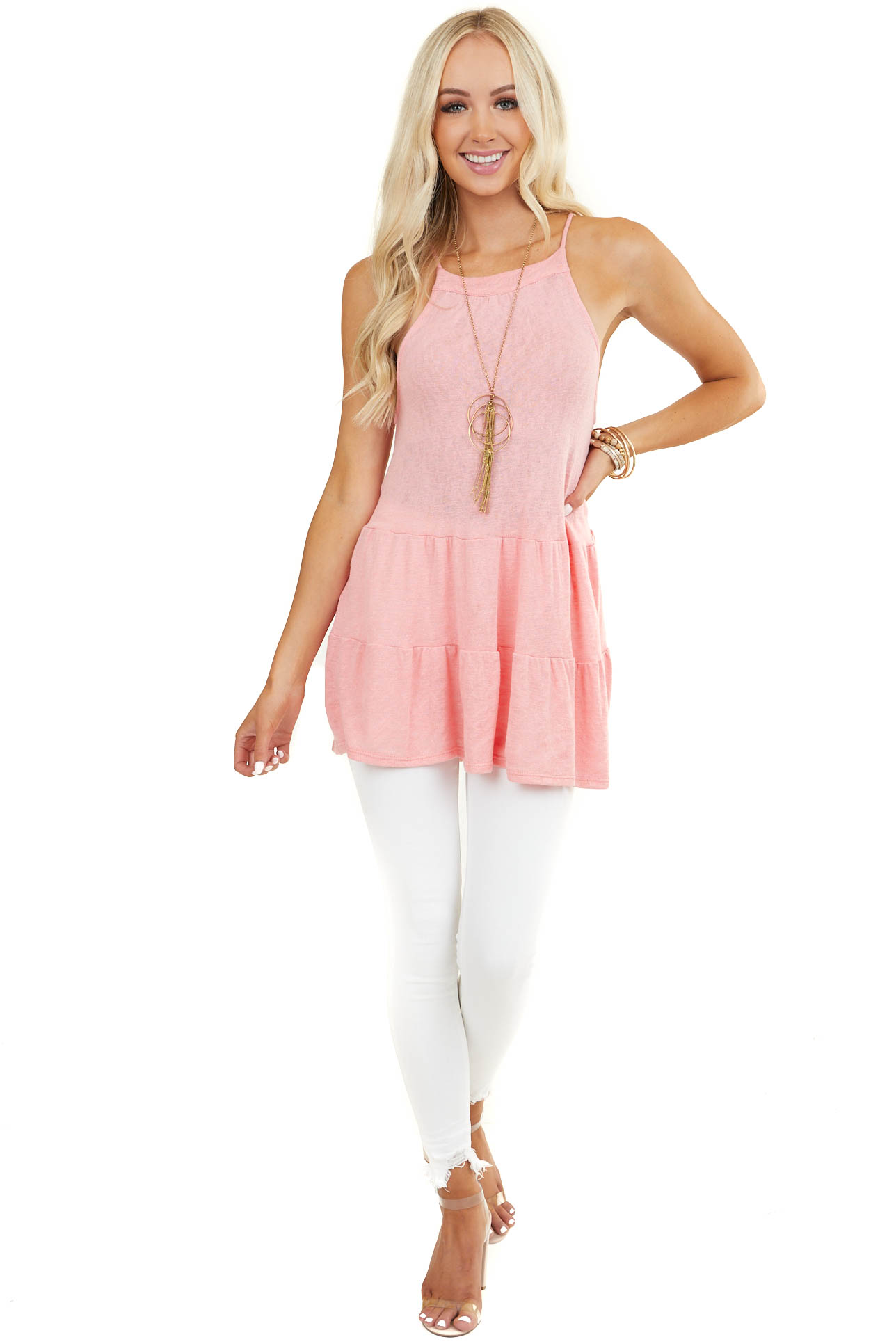 Coral Tiered Knit Tank Top with Rounded Neckline