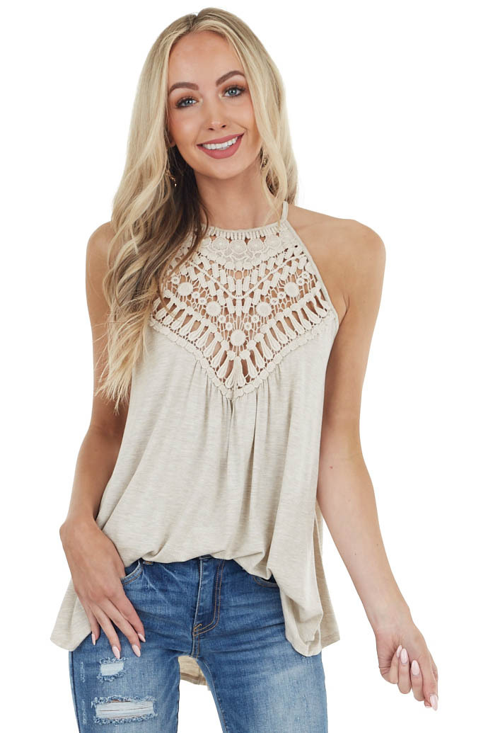 Oatmeal Tank Top with Sheer Lace Chest