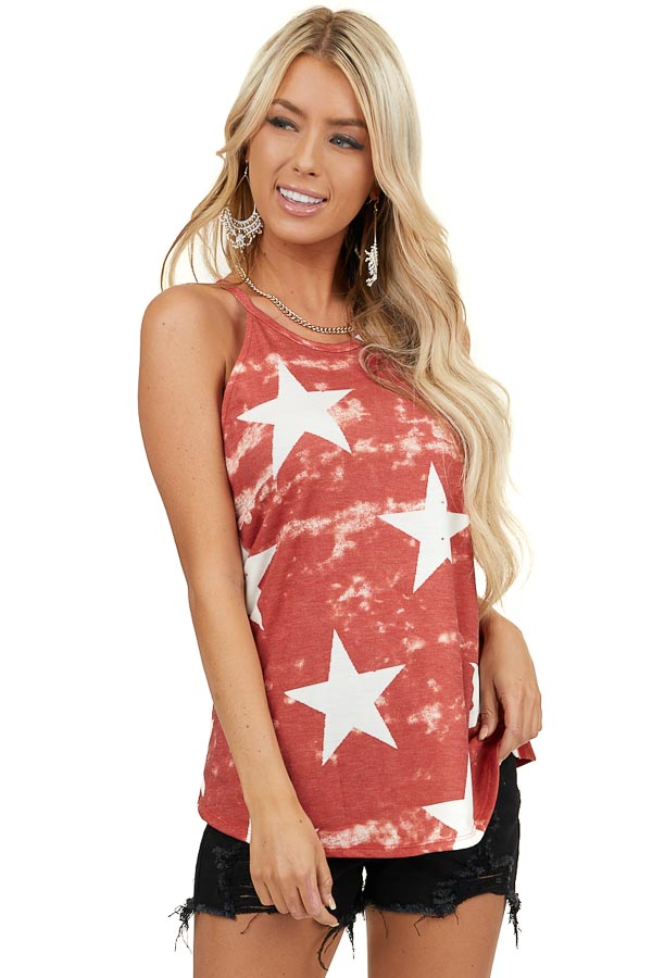 Brick Red Washed Star Print High Neck Tank Top