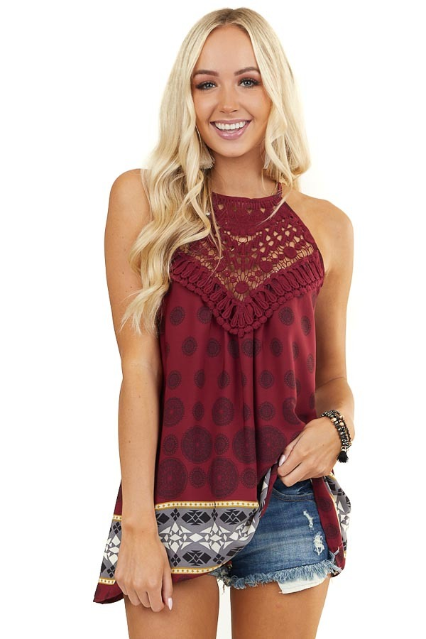 Burgundy Multi Print Halter Tank with Crochet Detail