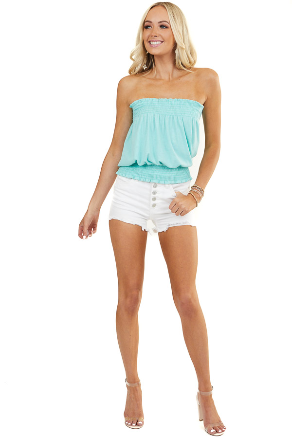 Aqua Sleeveless Ribbed Knit Top with Smocked Details