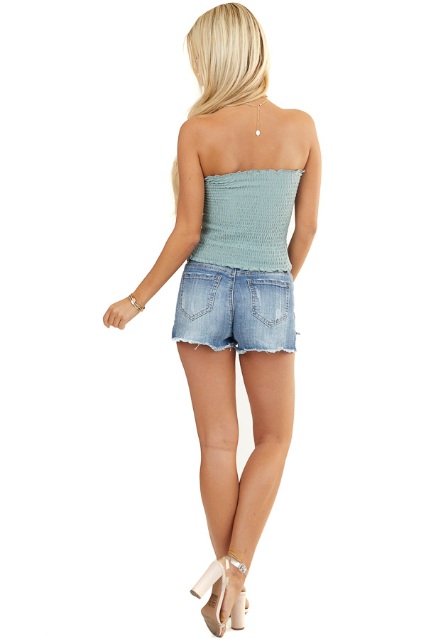 Sage Smocked Strapless Bandeau Top with Ruffled Hemlines