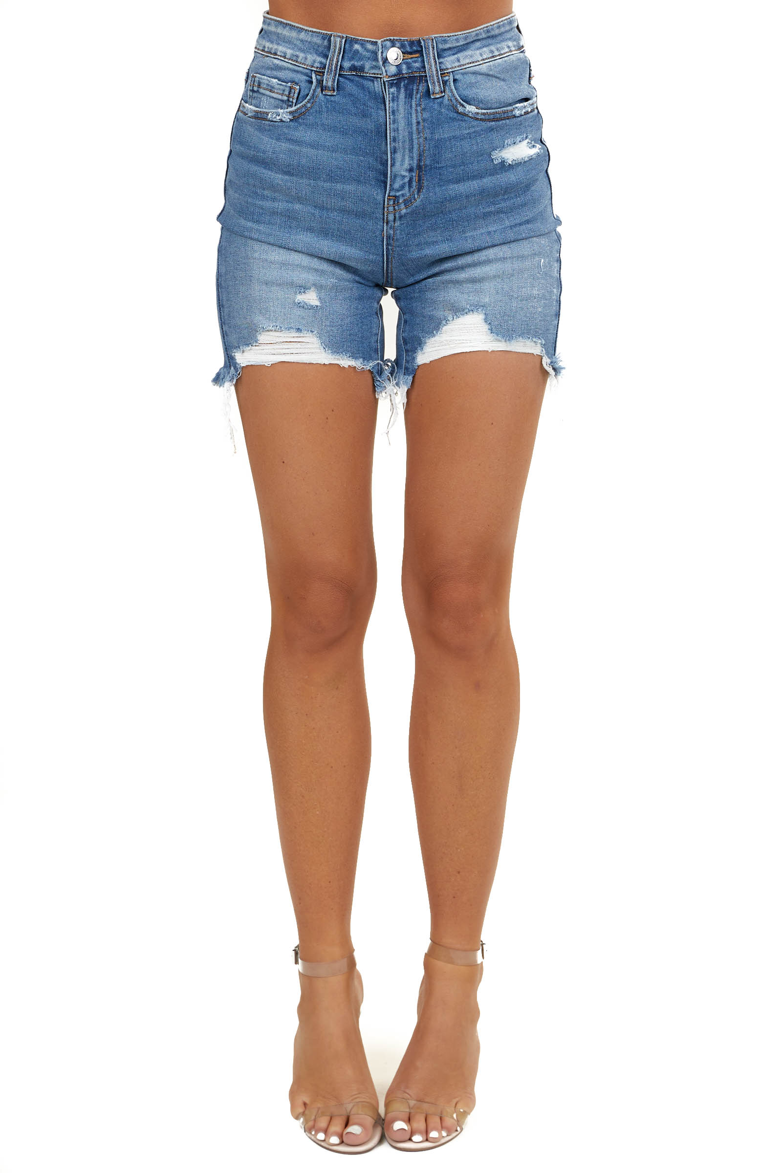 Medium Wash Denim Super High Waisted Distressed Shorts