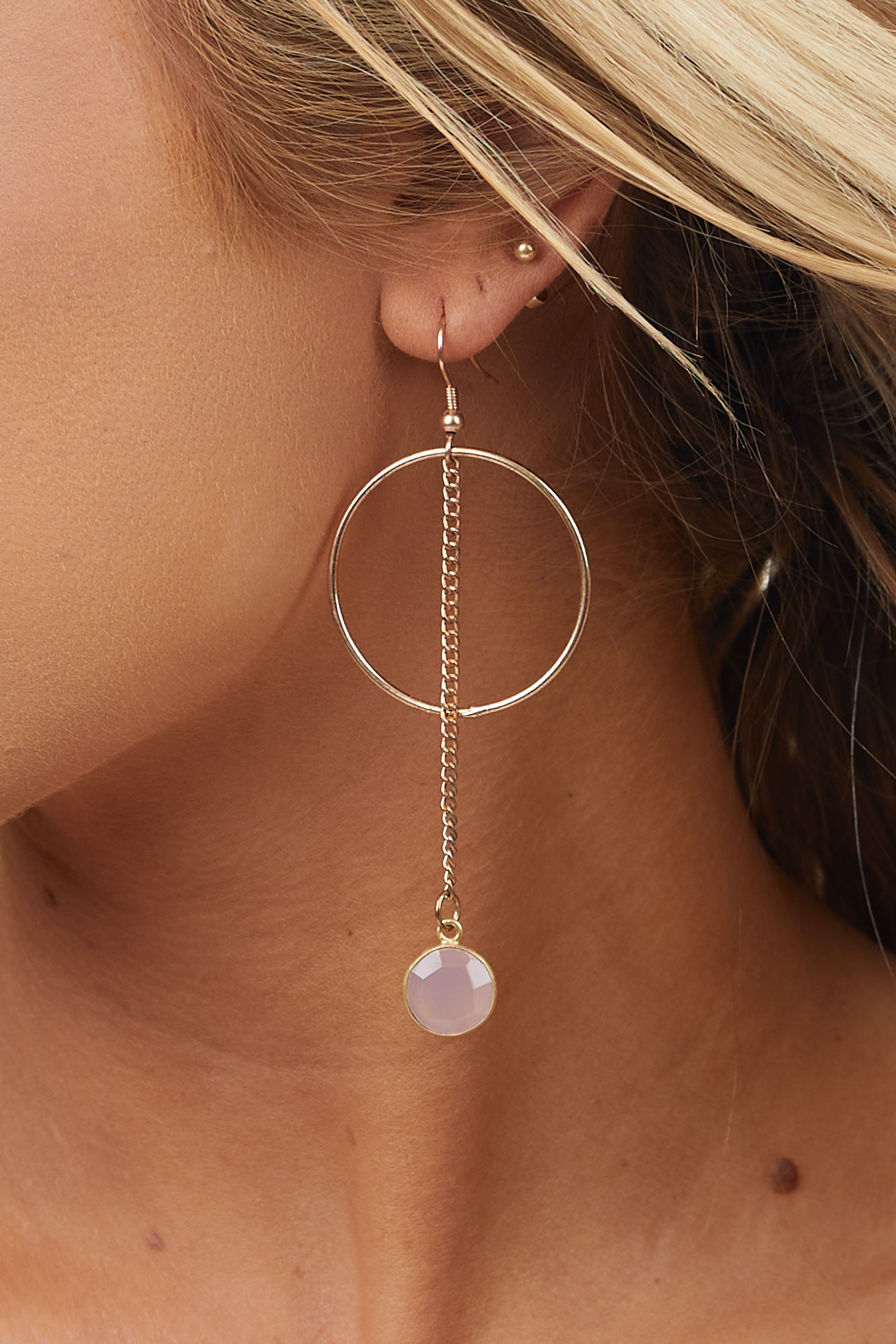 Gold Hoop Earrings with Chain and Blush Stone Detail