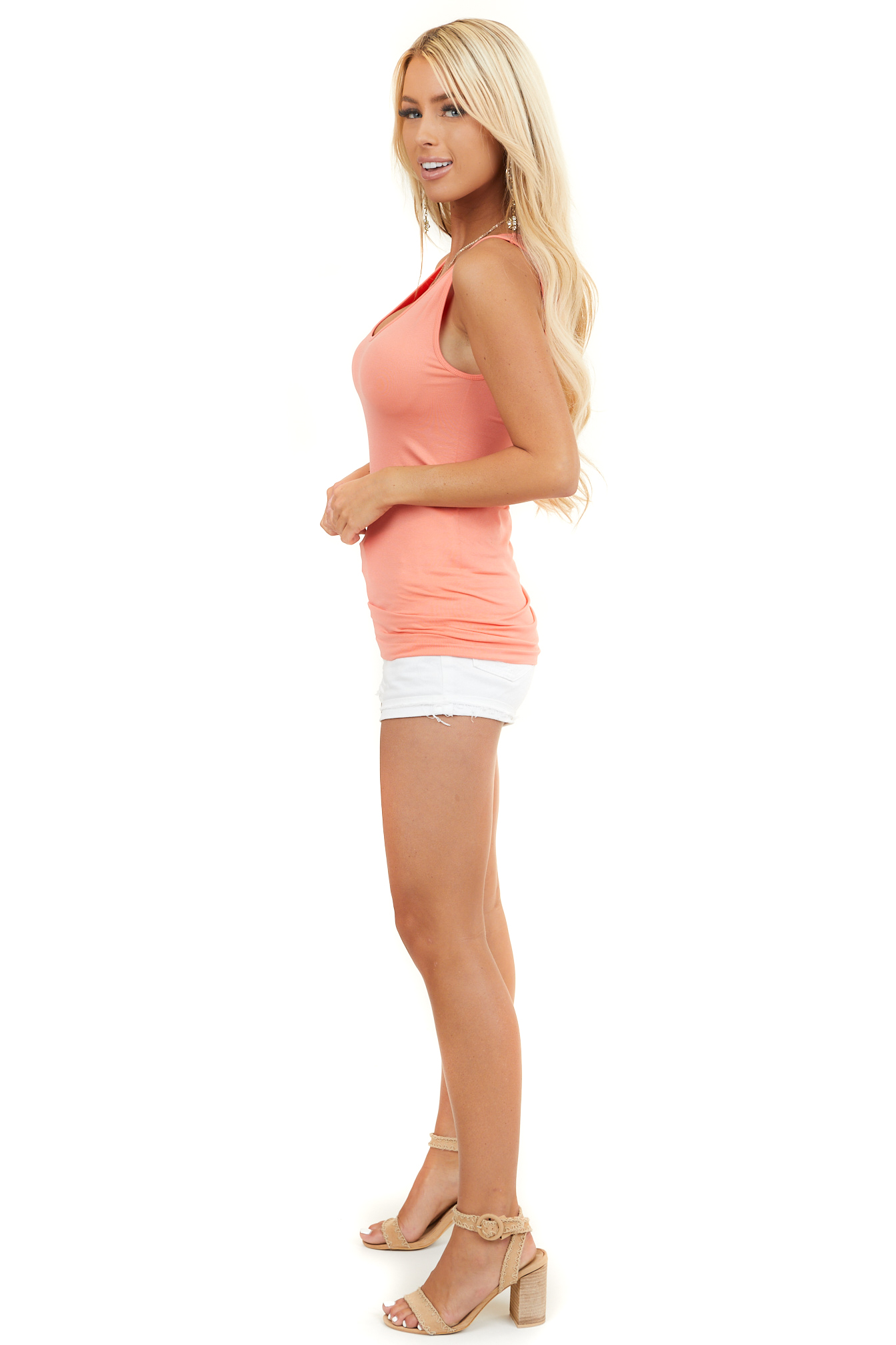 Coral Sleeveless Stretchy Knit Top with Rounded Neckline