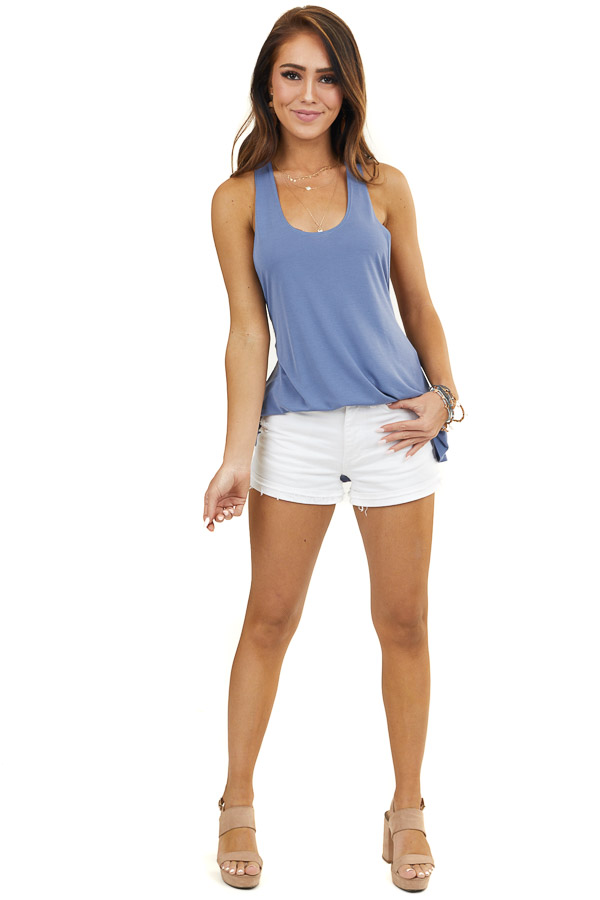 Dusty Blue Sleeveless Tank Top with Braided Racerback Detail