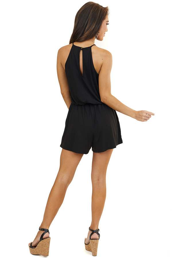 Black Spaghetti Strap Romper with Crocheted Lace Detail