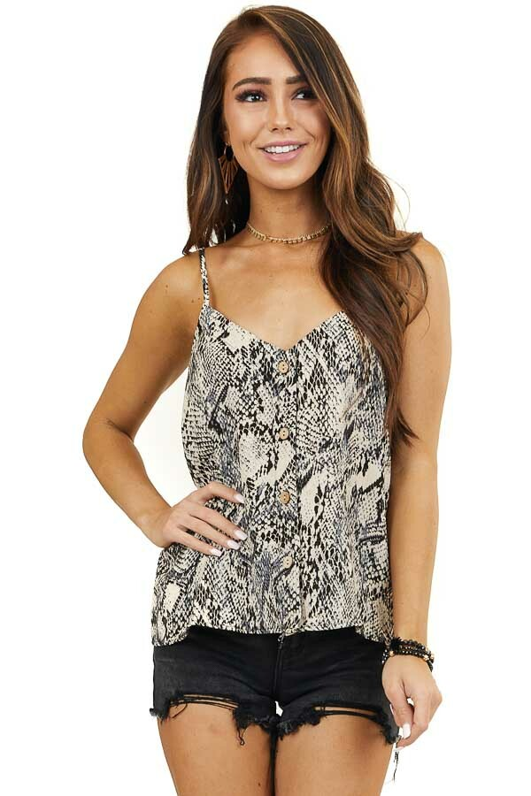 Beige Snakeskin Print Sleeveless Top with Button Up Front