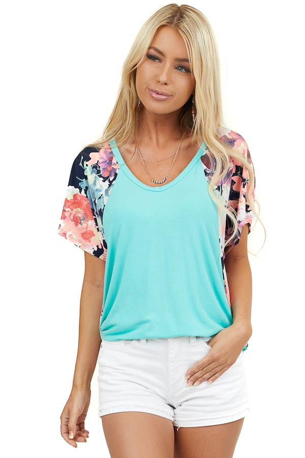 Aqua V Neck Knit Top with Floral Print Short Sleeve Contrast