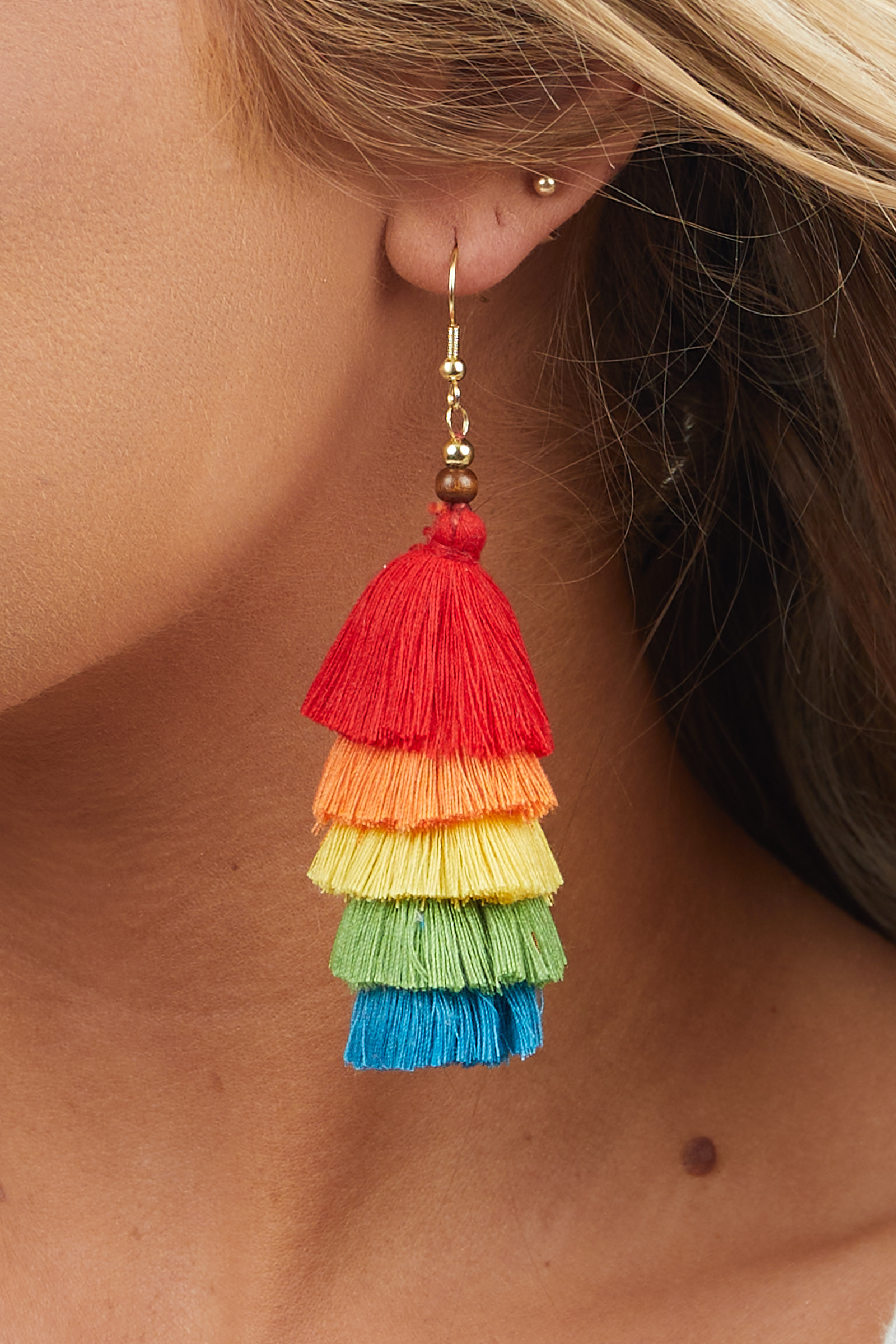 Bright Rainbow Tiered Tassel Dangle Earrings