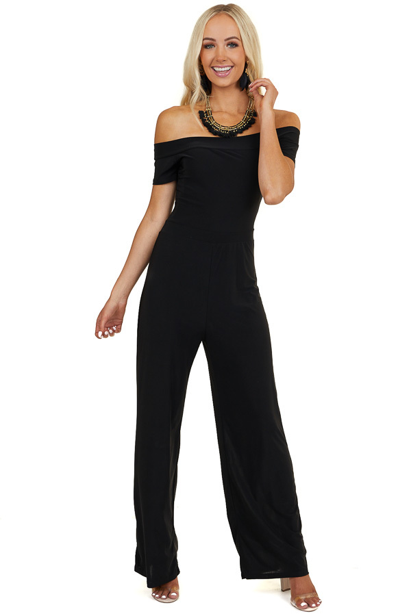 Black Off Shoulder Jumpsuit with Short Sleeves