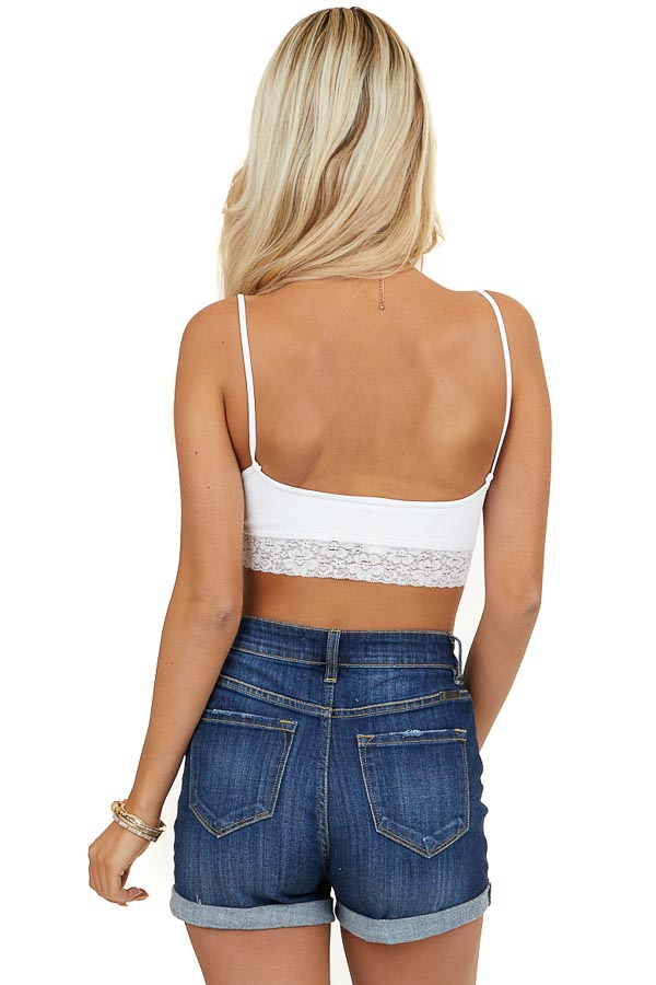 White Ribbed Bralette with Ruched Detail and Lace Hemline