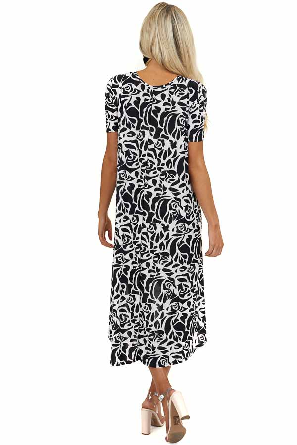 Black and White Floral Print Dress with High Low Hemline
