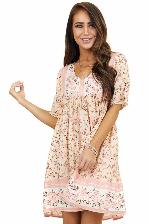 Blush Pink Floral Print Short Sleeve Mini Dress with Buttons