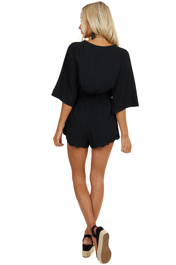 Black Half Sleeve Scalloped Romper with Hidden Button