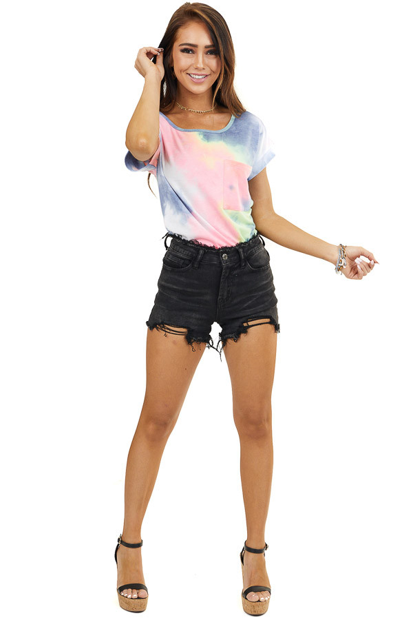 Multicolor Tie Dye Textured Knit Top with Front Side Pocket