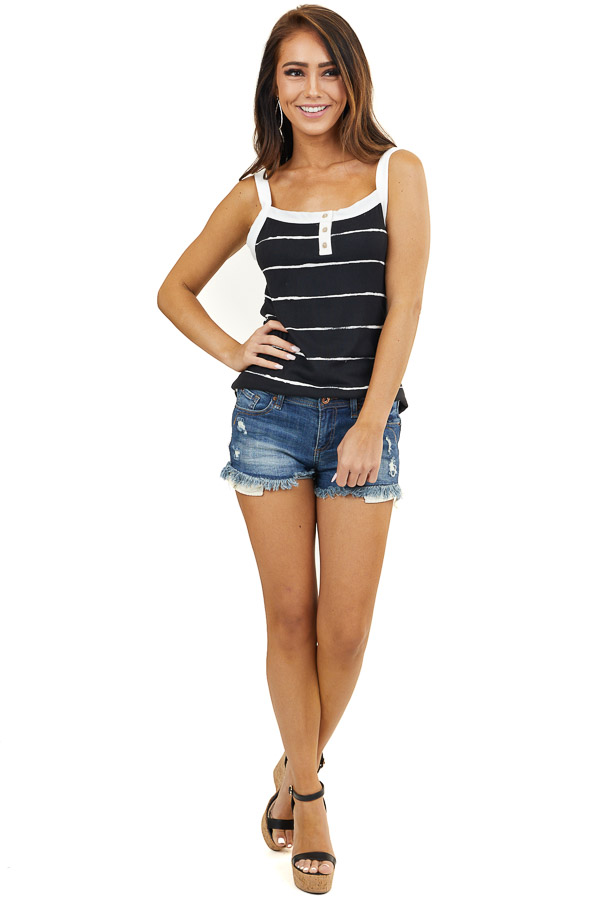Black and White Striped Tank Top with Button Details