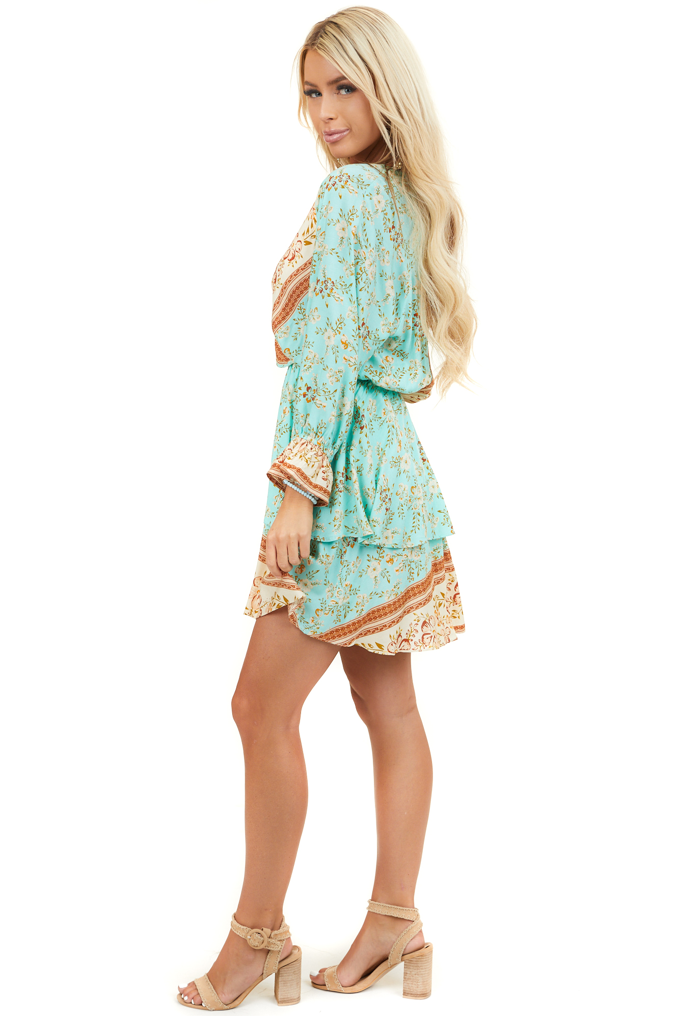 Turquoise Blue Floral Print Mini Dress with Overlay Detail
