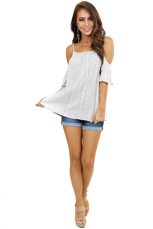 Light Grey Crochet Lace Woven Top with Cold Shoulders