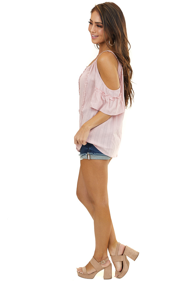 Light Pink Crochet Lace Woven Top with Cold Shoulders