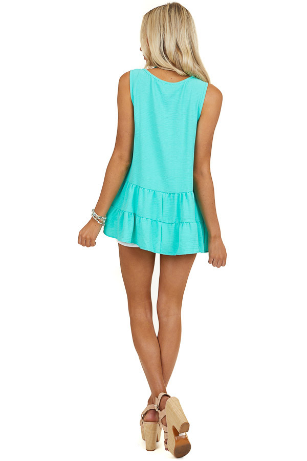 Jungle Green Tiered Sleeveless Top with Front Cut Out Detail