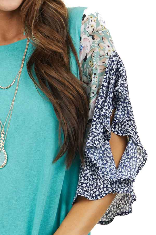 Teal Round Neck Knit Top with Printed Short Flowy Sleeves