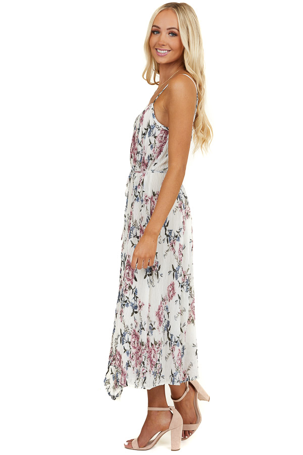 Ivory Floral Print Crinkle Sleeveless Dress with Waist Tie