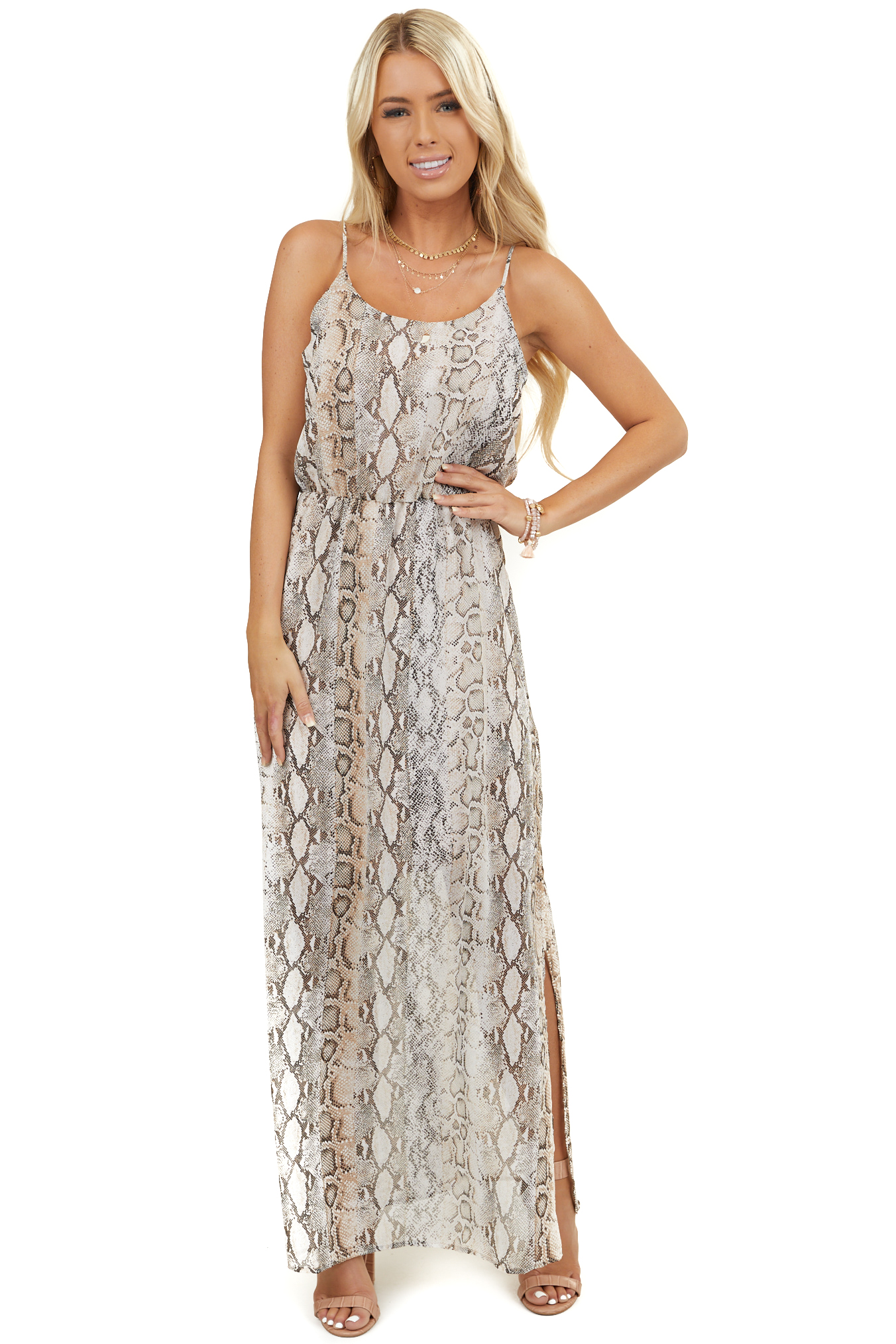 Desert Sand Snakeskin Print Sleeveless Dress with Side Slits
